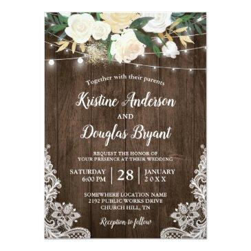 Small Rustic Country Chic Floral String Lights Wedding Invitation Front View