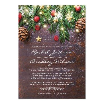 rustic country christmas holiday winter wedding invitation