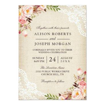 Small Rustic Country Classy Floral Lace Burlap Wedding Invitationss Front View