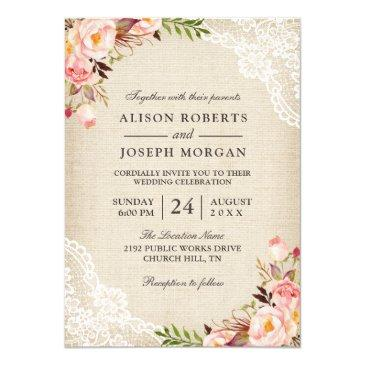 rustic country classy floral lace burlap wedding invitations