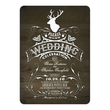 rustic country deer antlers barn wedding invitation