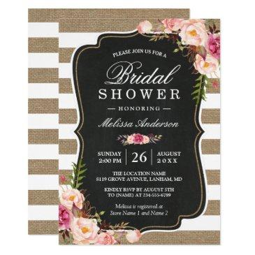 rustic country floral burlap stripes bridal shower invitation