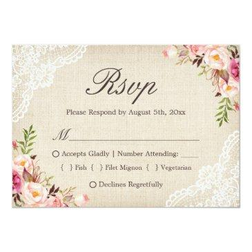 Small Rustic Country Floral Lace Burlap Meal Choice Rsvp Front View