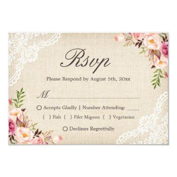 rustic country floral lace burlap meal choice rsvp