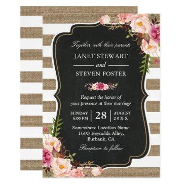 rustic country flowers burlap stripes chic