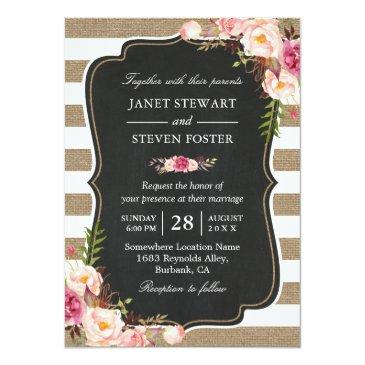 Small Rustic Country Flowers Burlap Stripes Chic Wedding Invitationss Front View