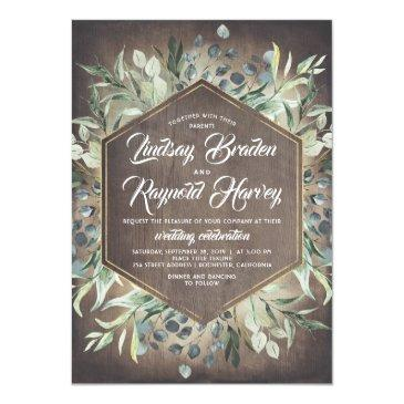 Small Rustic Country Greenery Barn Wedding Invitations Front View