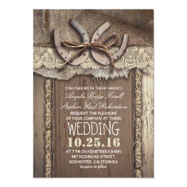 rustic country horseshoes and burlap lace