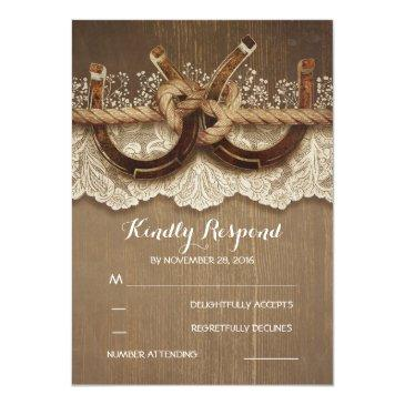 Small Rustic Country Horseshoes Wood Lace Wedding Rsvp Invitation Front View
