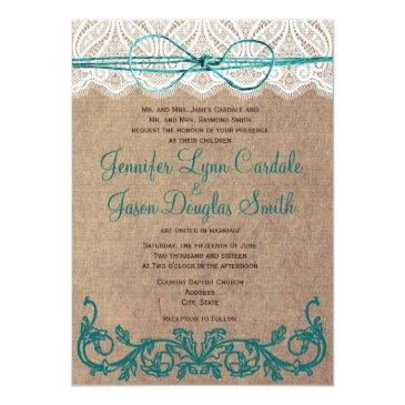 rustic country lace brown teal wedding
