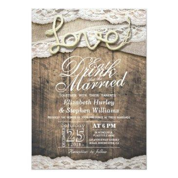 Small Rustic Country Lace Eat Drink Be Married Wedding Front View