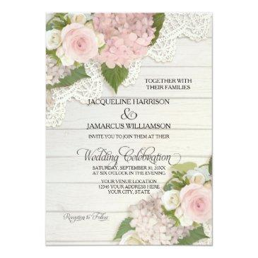 rustic country lace wood n pink hydrangeas wedding