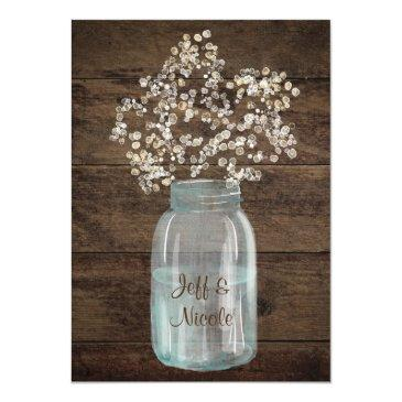 Small Rustic Country Mason Jar Barn Bridal Shower Invite Back View