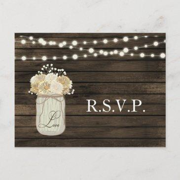 rustic country mason jar daisy barn wood wedding  post