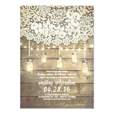 Small Rustic Country Mason Jars Lights Lace Wood Wedding Invitation Front View