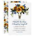 rustic country navy blue sunflower boho wedding invitations