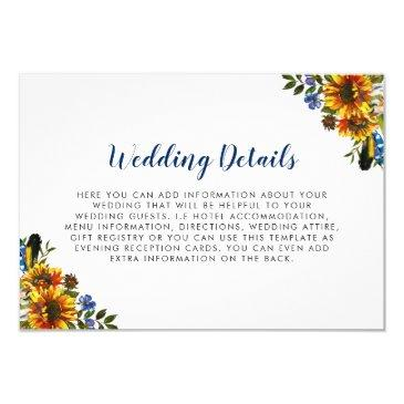 rustic country navy blue sunflower wedding details