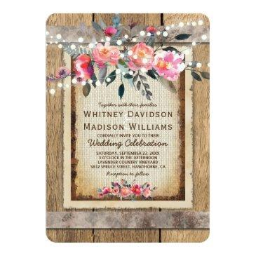 Small Rustic Country Oak Barrel Burlap And Wood Wedding Front View