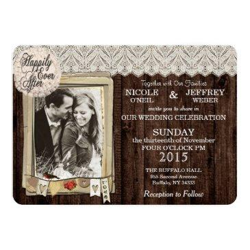 Small Rustic Country Photo Wedding Invitations Front View