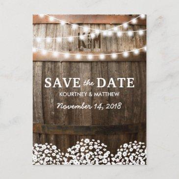 rustic country save the date | string of lights announcement post