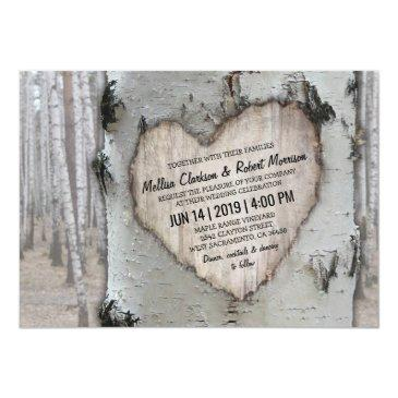 rustic country silver birch tree wedding invitations