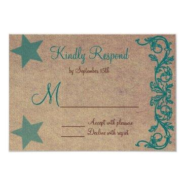 rustic country star brown teal wedding invitationss