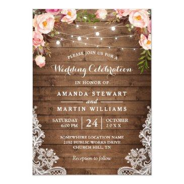 rustic country string lights floral lace wedding