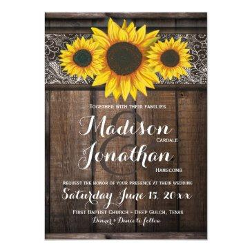 Small Rustic Country Sunflower Wood Wedding Invitationss Front View