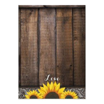 Small Rustic Country Sunflower Wood Wedding Invitationss Back View