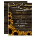 rustic country sunflowers barn wood wedding invitation