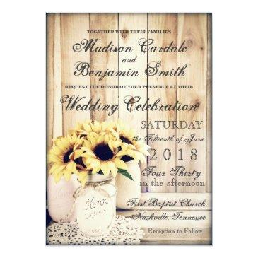 Small Rustic Country Sunflowers Mason Jar Wedding Invite Front View