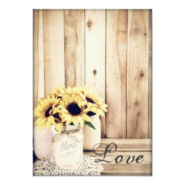 Small Rustic Country Sunflowers Mason Jar Wedding Invite Back View