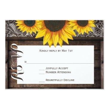 rustic country sunflowers wood wedding rsvp