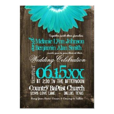 rustic country teal daisy wood wedding