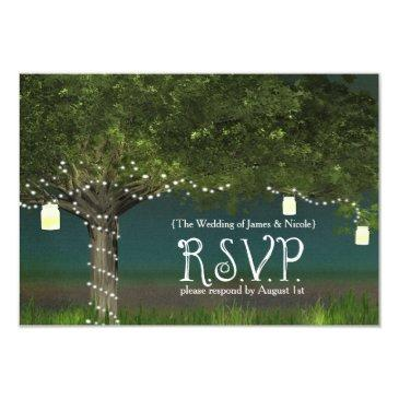rustic country tree & string lights rsvp