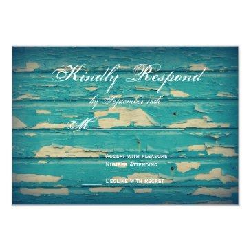 rustic country turquoise wood wedding rsvp