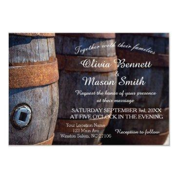 rustic country vineyard wine barrel wedding invitationss