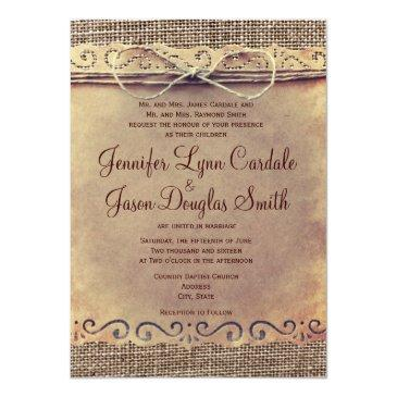 Small Rustic Country Vintage Burlap Wedding Invitationss Front View