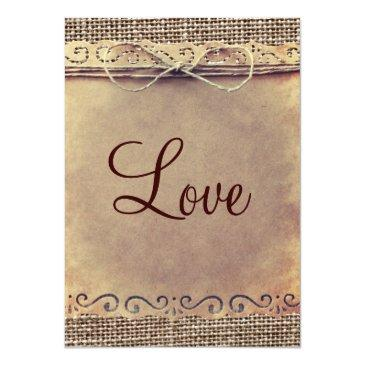 Small Rustic Country Vintage Burlap Wedding Invitationss Back View