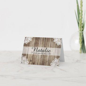 rustic country vintage wood bridesmaid request