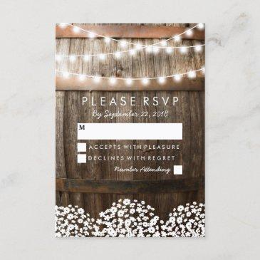 rustic country wedding rsvp | string of lights