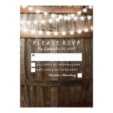 Small Rustic Country Wedding Rsvp | String Of Lights Front View