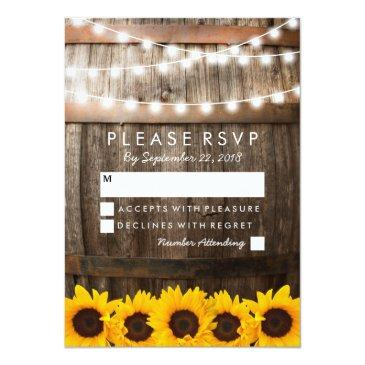 Small Rustic Country Wedding Rsvp | Sunflower Lights Front View