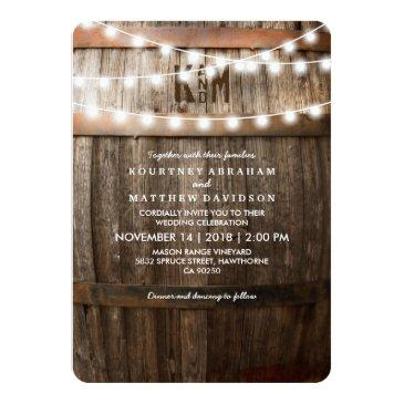 Small Rustic Country Wedding | String Of Lights Invitation Front View