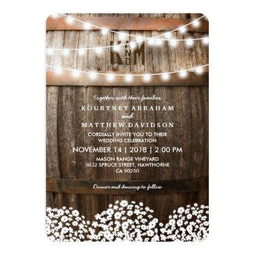 Small Rustic Country Wedding | String Of Lights Invitationss Front View