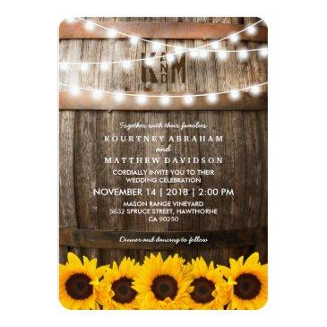 Small Rustic Country Wedding | Sunflower String Lights Invitation Front View