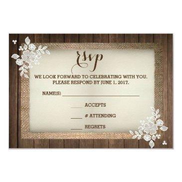 rustic country wood burlap lace wedding rsvp invitation