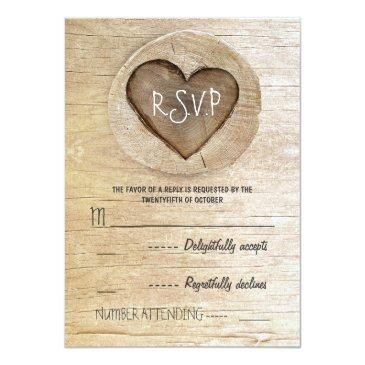 Small Rustic Country Wood Heart Wedding Rsvp Invitation Front View