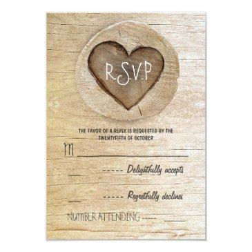 rustic country wood heart wedding rsvp