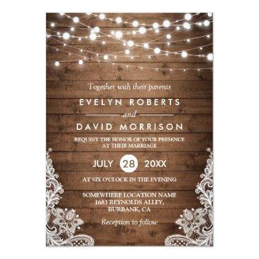 Small Rustic Country Wood Twinkle Lights Lace Wedding Invitation Front View